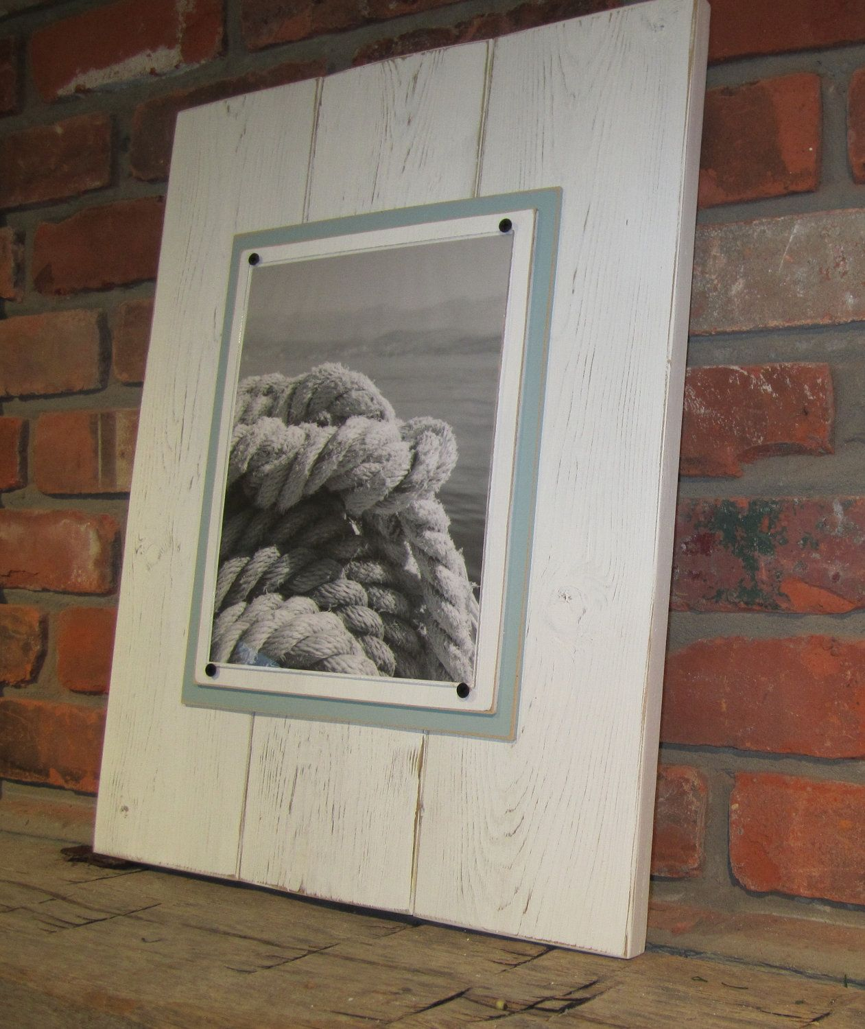 Large Distressed White Plank Frame for 8x10 Photo, via Etsy.