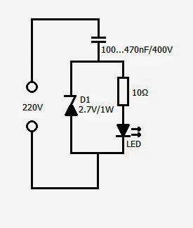Revista ELEKTRONIKA: Circuito para conectar un led a 220 V