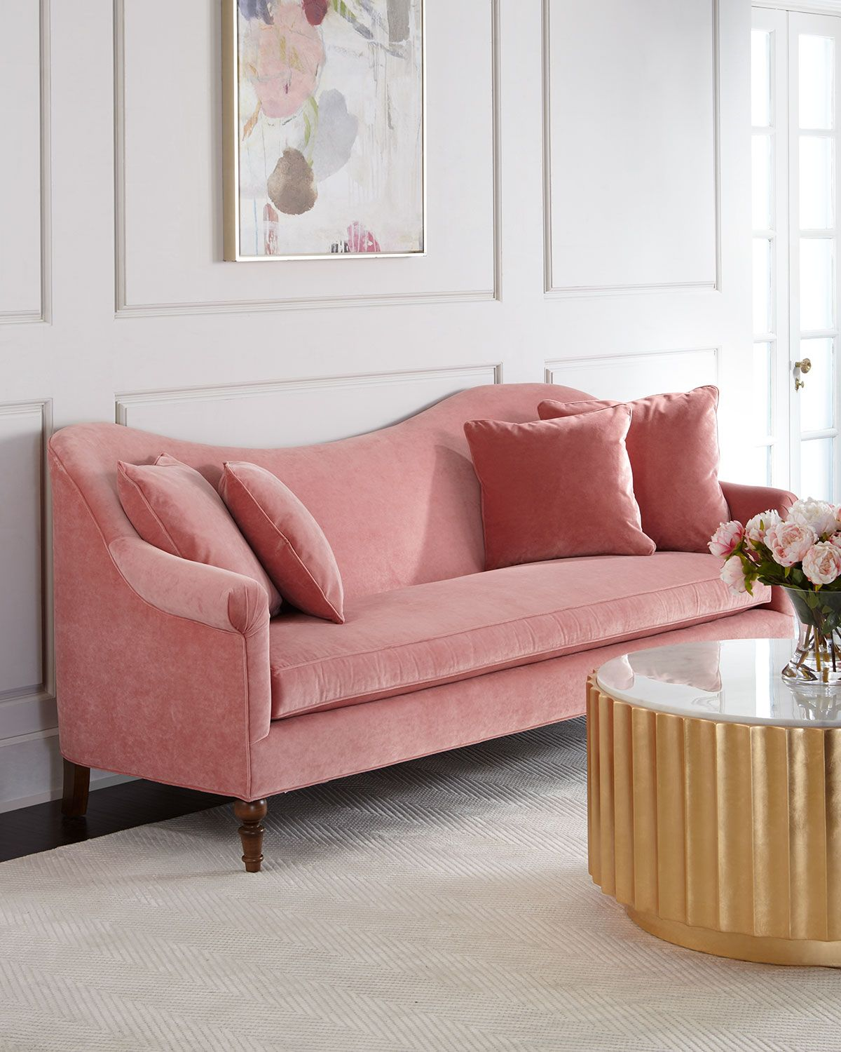 Ideas For Decorating Plush Pink Sofa Living Room: Pink Sofa, Living Room Inspiration