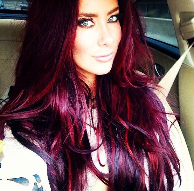 Jewel Toned Red And Purple Highlights For Brunettes Hair