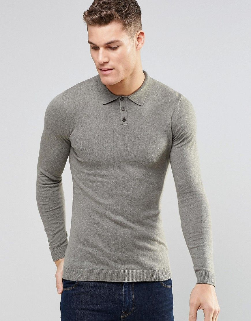 Asos Knitted Muscle Fit Polo Shirt In Light Khaki Gray Preppy