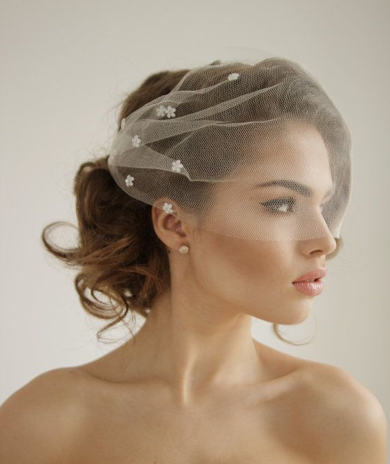 Wedding Hairstyles With Headband And Veil: Silk Tulle Bandeau Birdcage Wedding Veil With