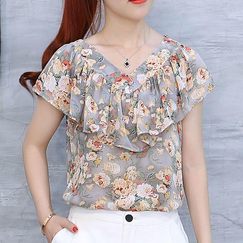 5e8676025 2018 Moda Verão Blusas Femininas Camisas Plus Size Floral Tops Senhoras  Babados Blusa de Manga Curta