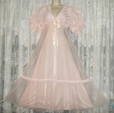8129ee61e VTG-PINK-Fancy-TOSCA-Sheer-Chiffon-Peignoir-Robe-Nightgown-Negligee-Gown -SET-ML