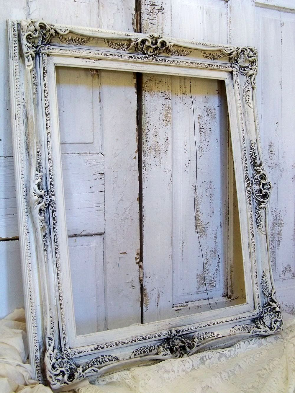 Reserved For Nathan Large Ornate Frame Hand Painted Cream Distressed Shabby Chic French Provincial Anita Spero Ornate Picture Frames Ornate Frame Frame Shabby