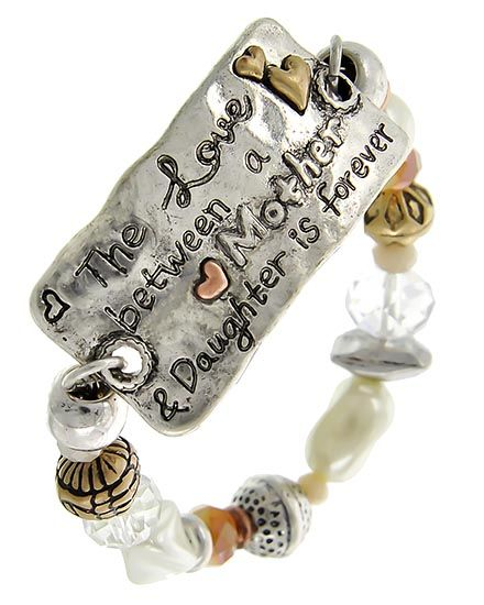 Tri-tone / Cream Synthetic Pearl / Clear & Lt.brown Glass Crystal / Antique Tri Tone Ccb (bead) / Lead&nickel Compliant / Mmessage / Etal / Mother's Day / Heart W/ Stretch / Bracelet