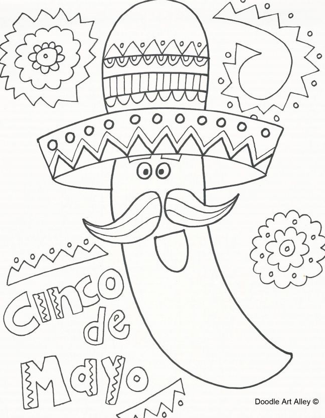 Free Cinco De Mayo Coloring Pages Cinco De Mayo Colors Coloring