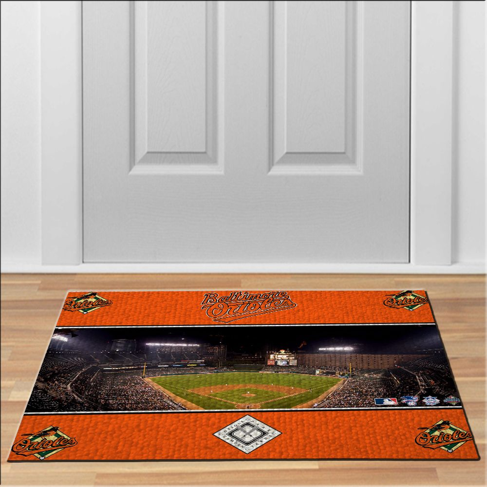 Baltimore Orioles Logo Bird Field Mlb Baseball League. Front Door MatsFront  ...