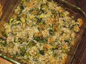 Broccoli Potato Casserole with Parmesan Panko Crust- 137 calories