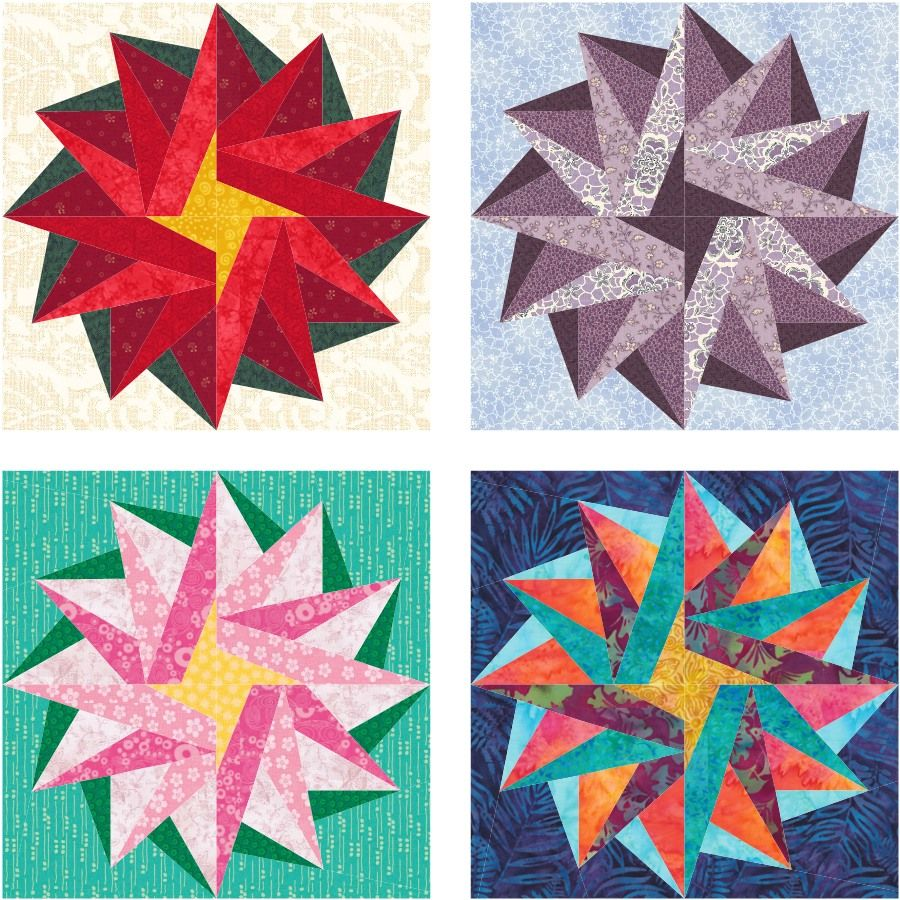 Poinsettia Star Free Paper Pieced Quilt Block Pattern