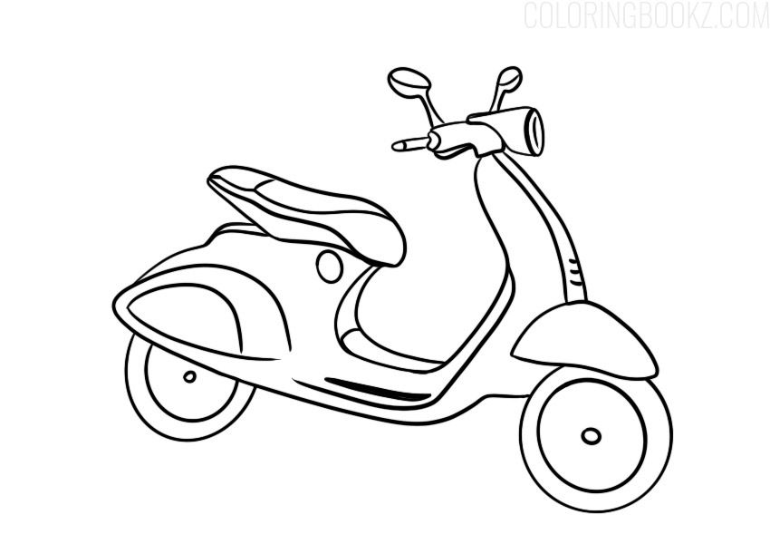 Scooter Motorcycle Coloring Page Coloring Books Coloringbook Coloringbooks Coloringbookz Coloringpage Coloring Scooter Motorcycle Scooter Coloring Books