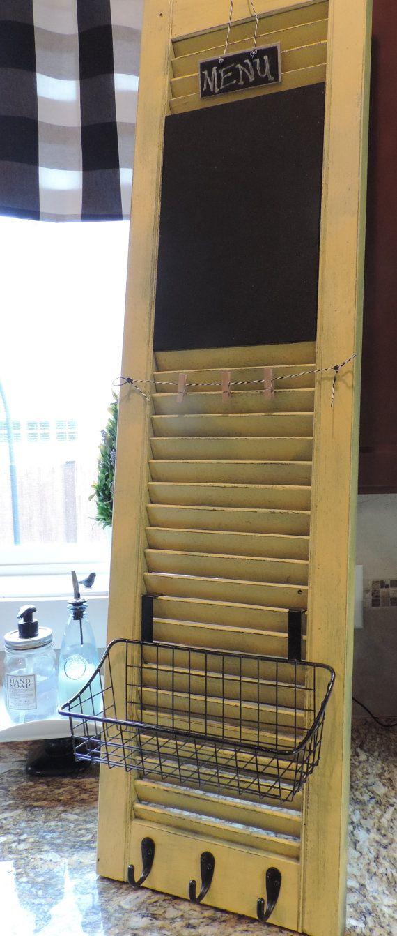 Old Shutter Turned Kitchen Command Center By Huelabdesigns On Etsy Shutters Repurposed Shutter Decor Diy Shutters