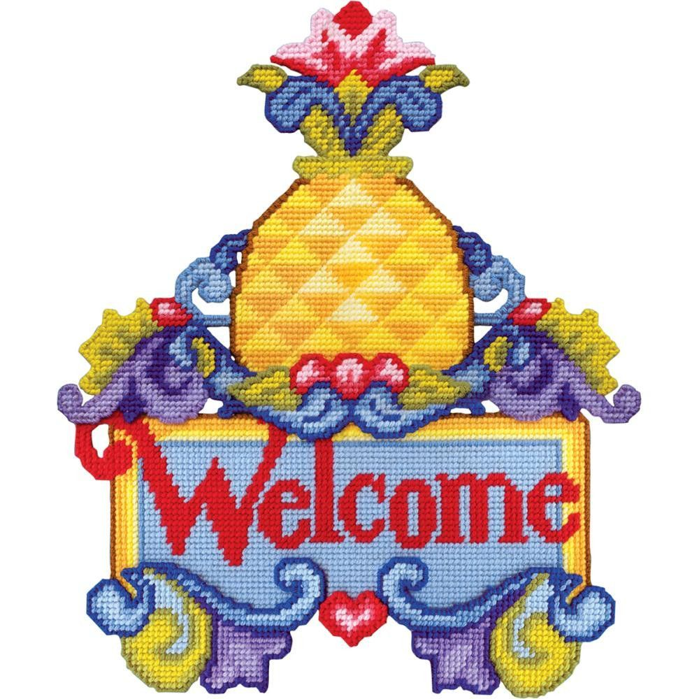 Pineapple Welcome Wall Decor Plastic Canvas Kit-15\