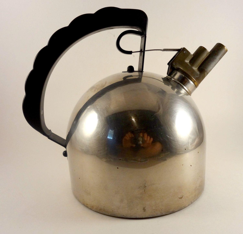 vintage alessi train whistle tea kettle designed by richard sapper  - vintage alessi train whistle tea kettle designed by richard sapper made initaly
