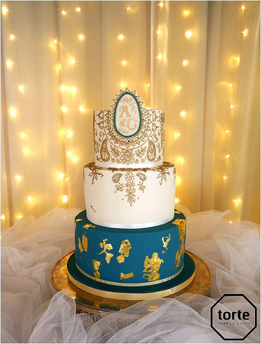 GOLD HENNA #wedding #cake #teal #henna #gold #piping #welshwedding ...