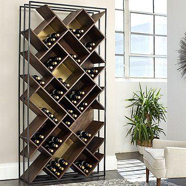 Corsica Triple Depth Vertical Display Wood And Metal Wine Rack In 2020 Wine Rack Wall Iron Wine Rack Metal Wine Rack
