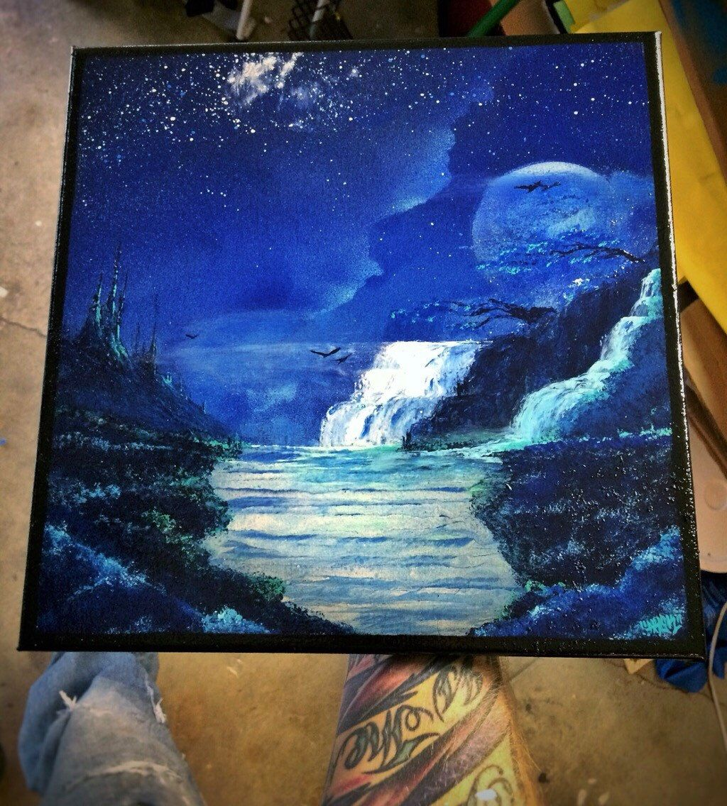 Spray Paint Art Fantasy Landscape Art Waterfall Winter Mountain Artwork With Spray Paint