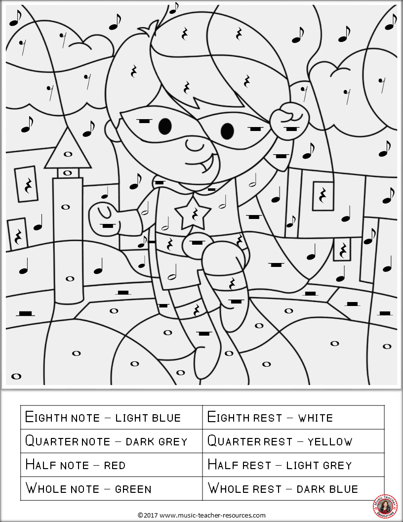 music symbol coloring pages | Benefits of Color By Music Symbol Pages | Music lessons ...