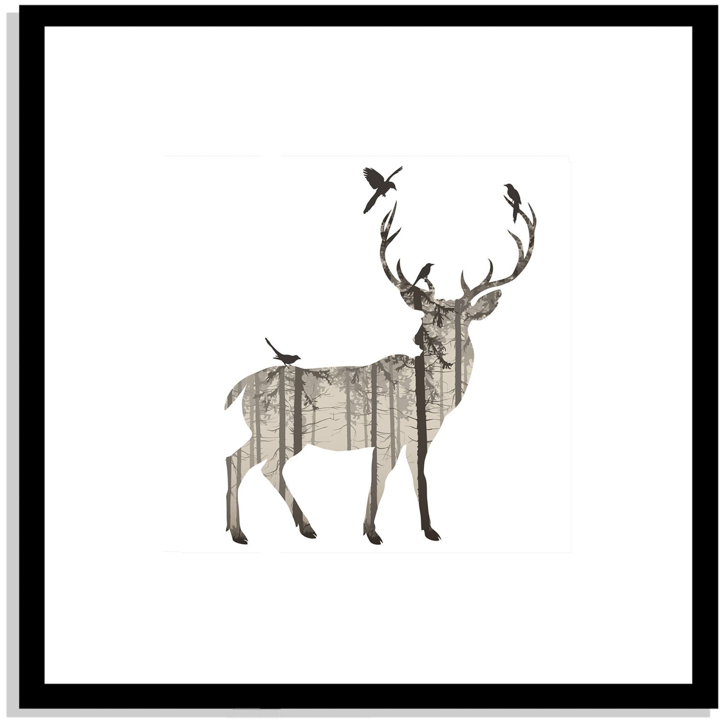 Patterned Panels - Stag Story, Framed Print, 40x40cm | ACHICA ...