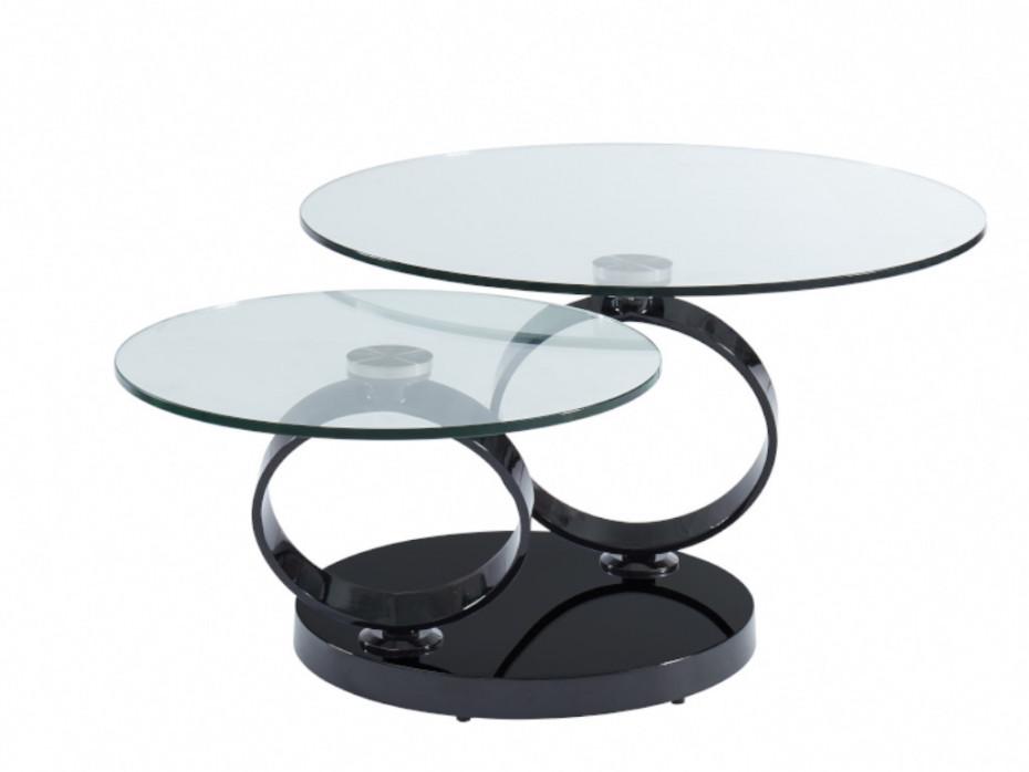Table Basse Avec Plateaux Pivotants Joline Verre Trempe Transparent Et Pied Chrome Noir Table Basse Verre Table Basse Verre Trempe Table Basse