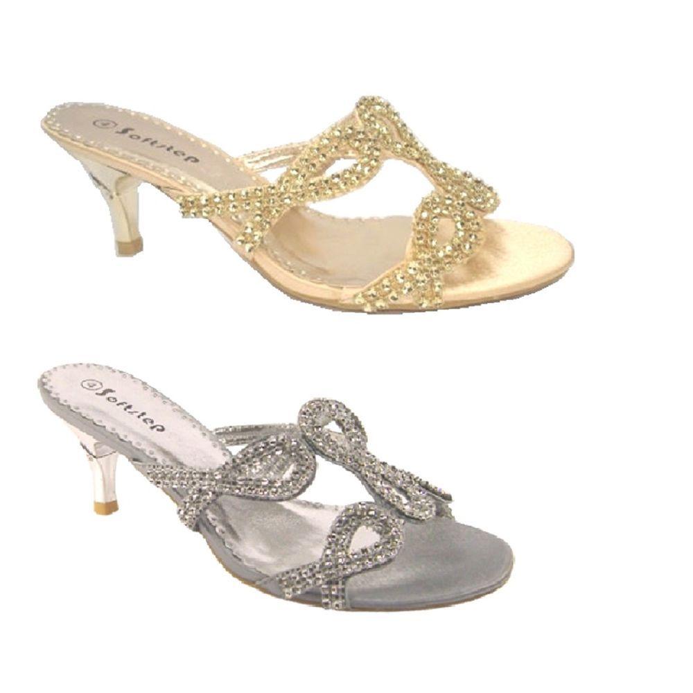 Womens Party Wedding Bridal Ladies Low Heel Evening Sandals Silver Gold Uk Size Evening Sandals Heels Wedding Sandals
