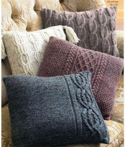 Aran-cushions-Knitting-pattern-Aran-wool-choice-of-4-cushions-on-1-pattern