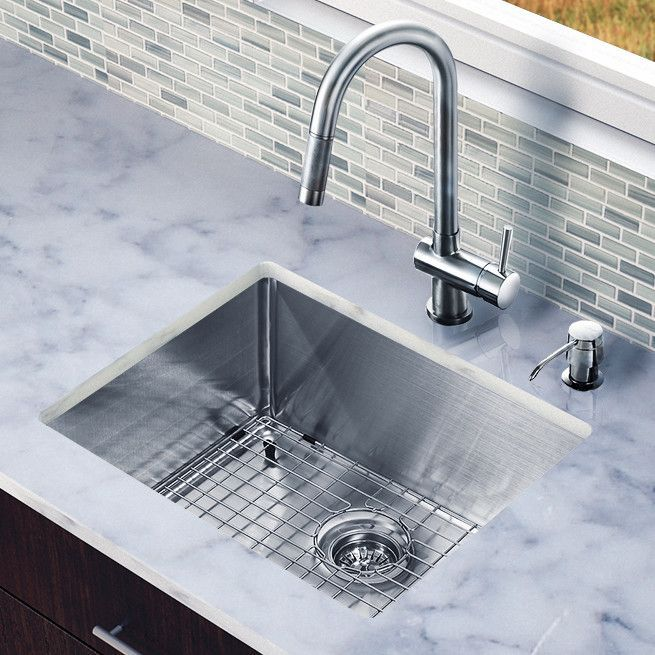 Vigo 23 X 20 Single Bowl Kitchen Sink With Pull Out Undermount Kitchen Sinks Stainless Steel Kitchen Sink Undermount Stainless Steel Double Bowl Kitchen Sink