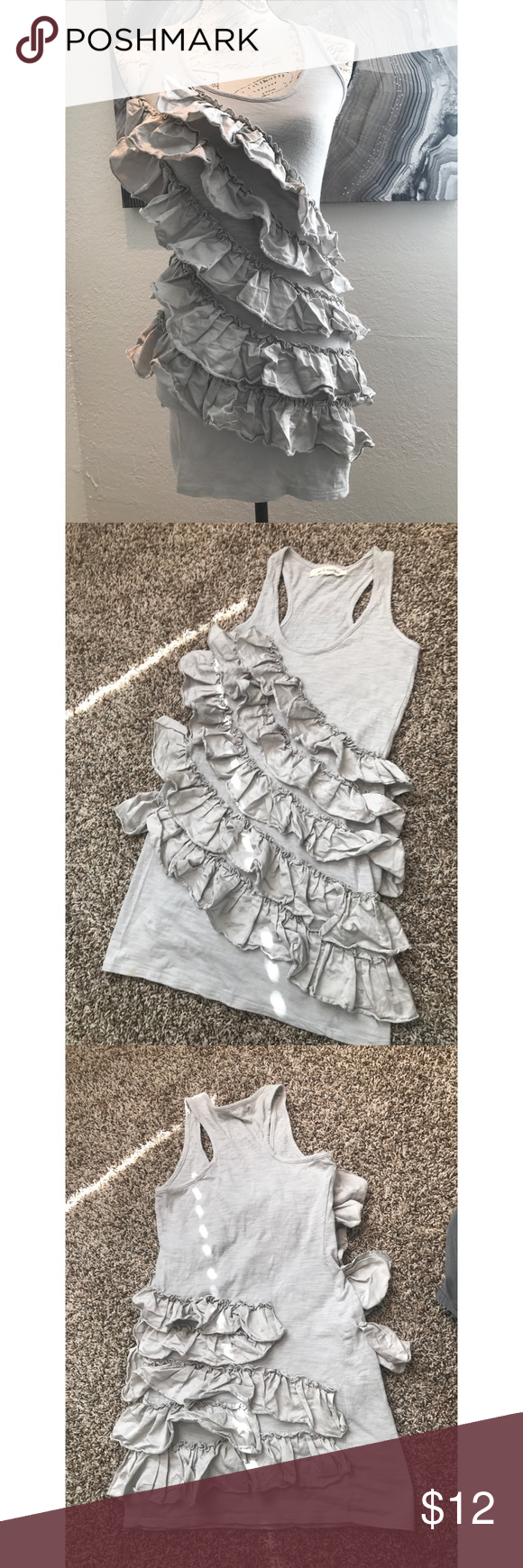 Steve Madden Ruffle Tank Dress s Darling cotton dress adorned in Ruffles! Light weight and great for teens or adults to wear as a dress or long tanks with leggings Steve Madden Dresses Mini