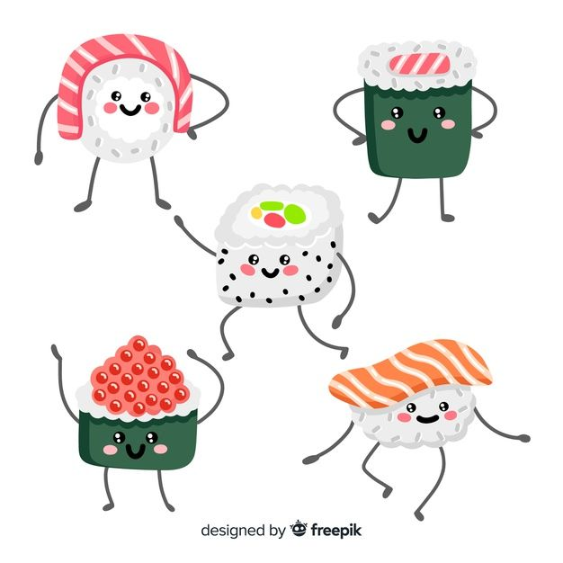 Download Hand Drawn Adorable Sushi Collection for free