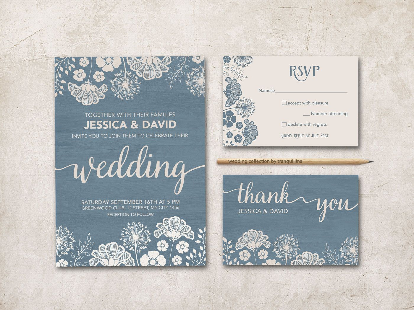 Printable Wedding Invitation, Rusty Blue & Ivory Wedding ...