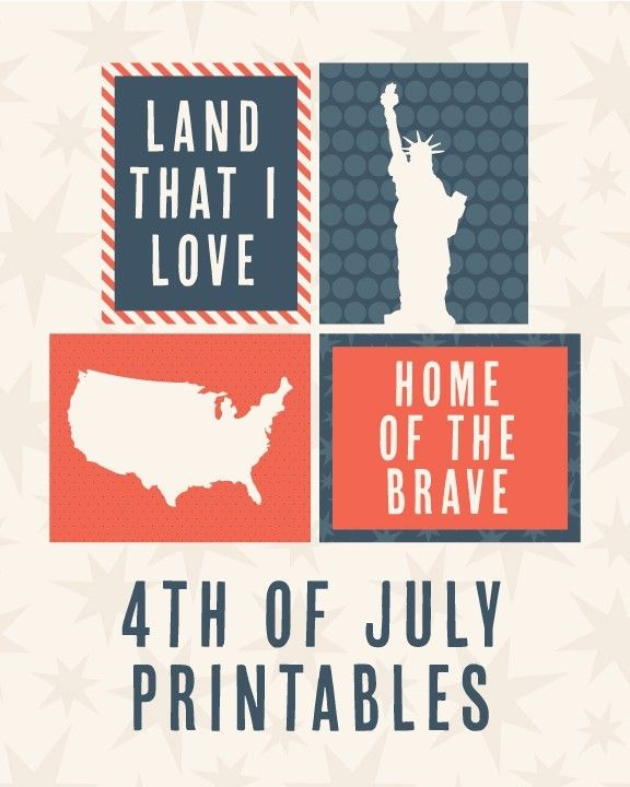 4th of July printables. Enjoy!  Land That I Love  Statue of Liberty silhouette  Map silhouette Home of the Brave