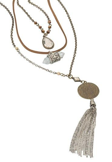 Maurices Diamond Shape Beaded Necklace With Chain Tassel owEIzfK