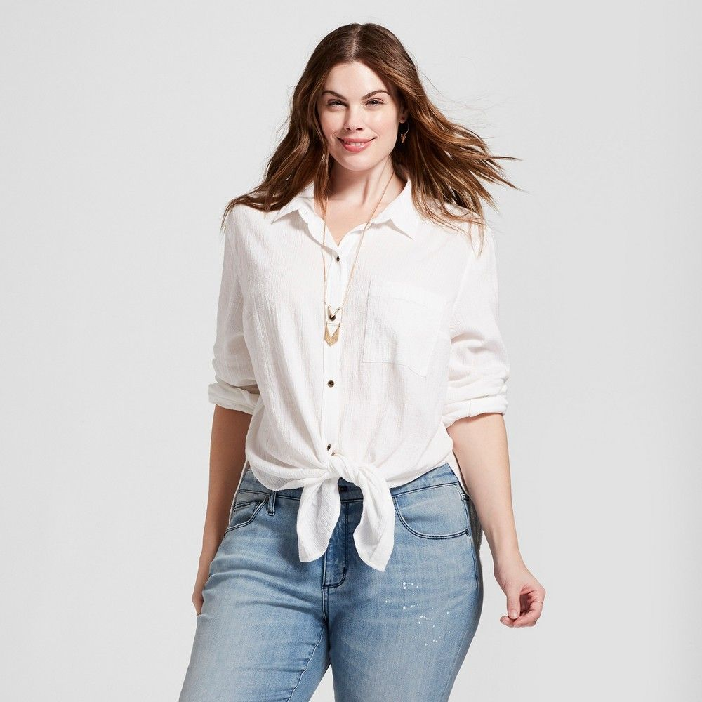 c27b76c7de0b4b Women's Plus Size Tie Front Button Down Shirt - Universal Thread White 1X