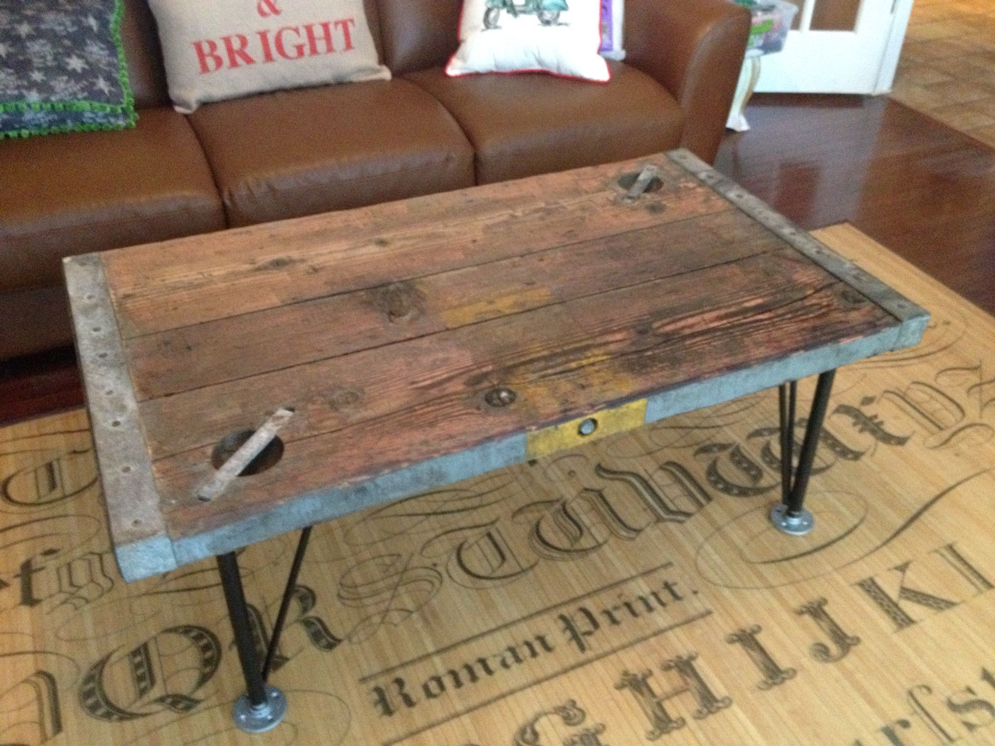 Coffee table I made from old hatch from ship