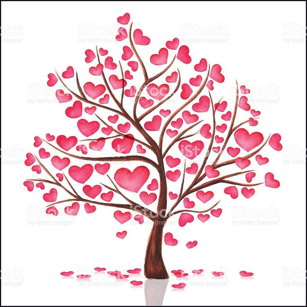 Fabulous Aquarelle arbre de cœur stock vecteur libres de droits libre de  BH46