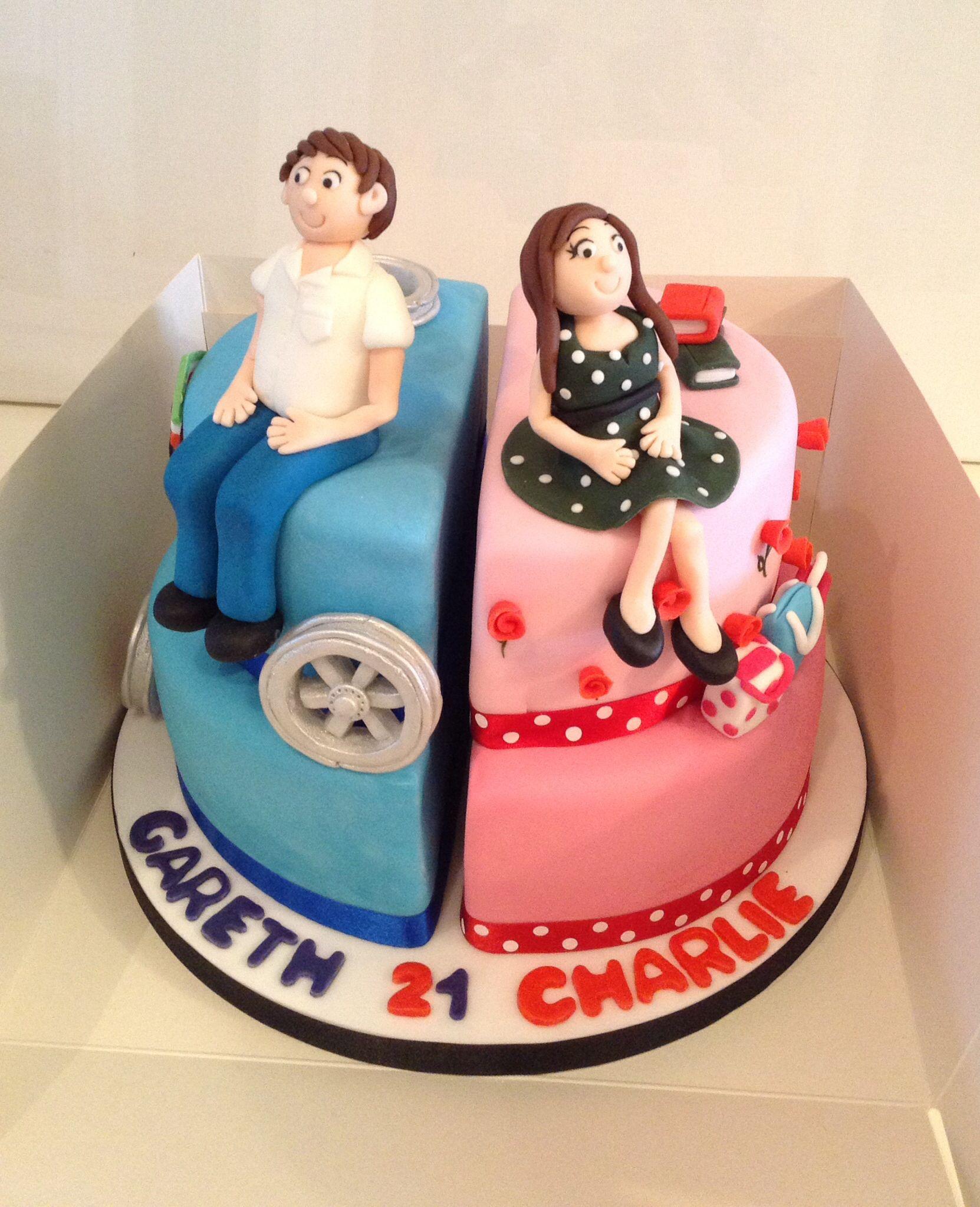 Split Boy Girl 21st Birthday Cake Cakes Pinterest Birthday