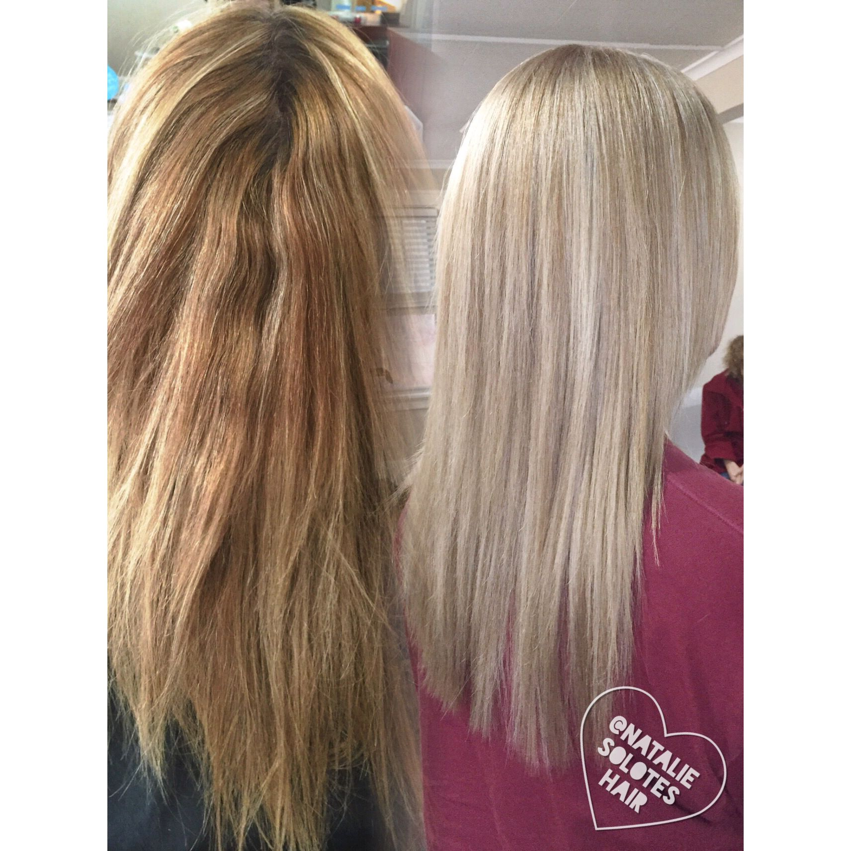 Before and after corrective color Balayage from brassy to blonde East  Amherst transformation Blonde specialist Buffalo