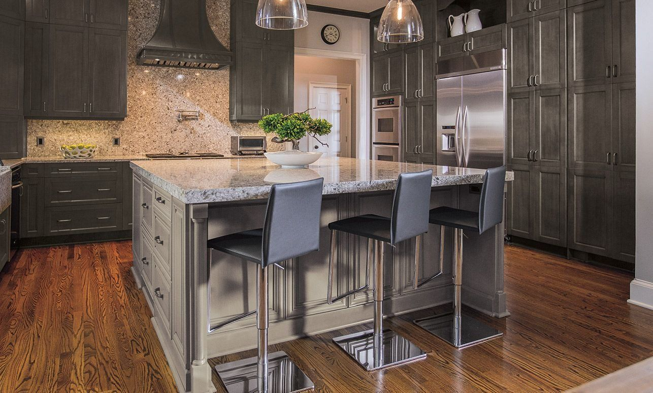 Traditional kitchen with Lexington gray kitchen cabinets ...