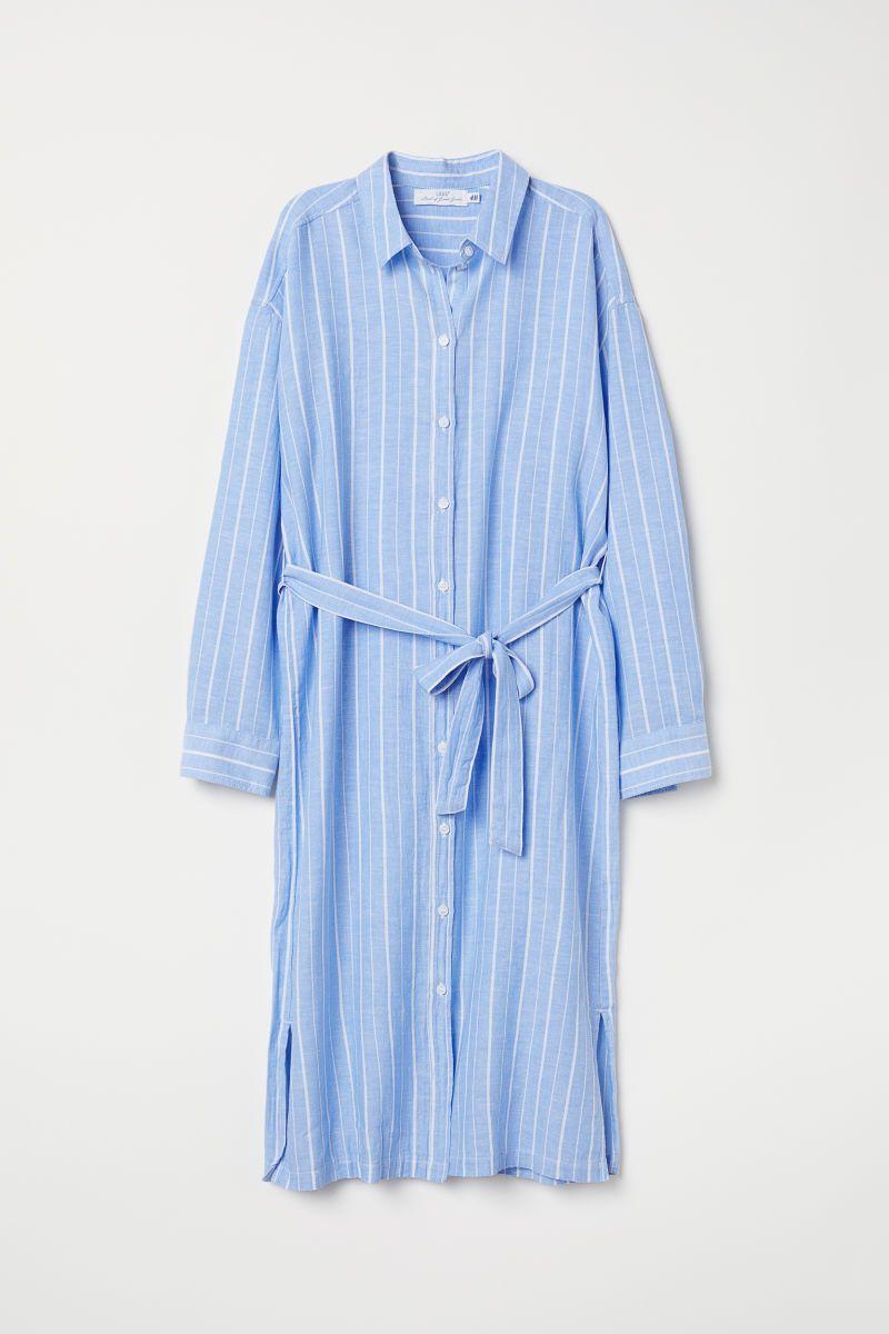 blusenkleid aus baumwollmix - hellblau/weiß gestreift