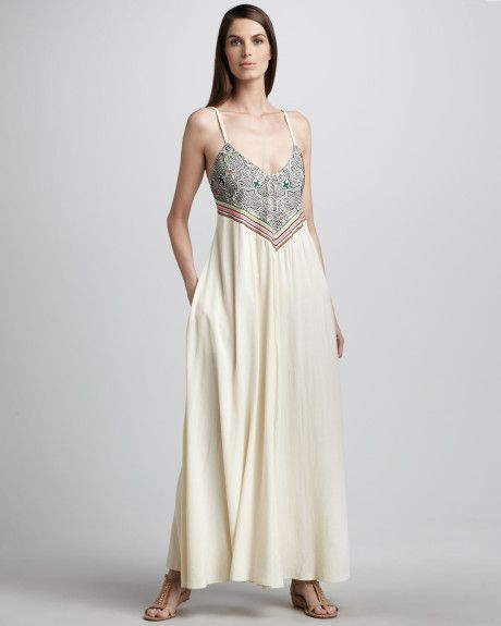 Mara Hoffman Shapibo Embroidered Fulllength Dress in Beige (natural)