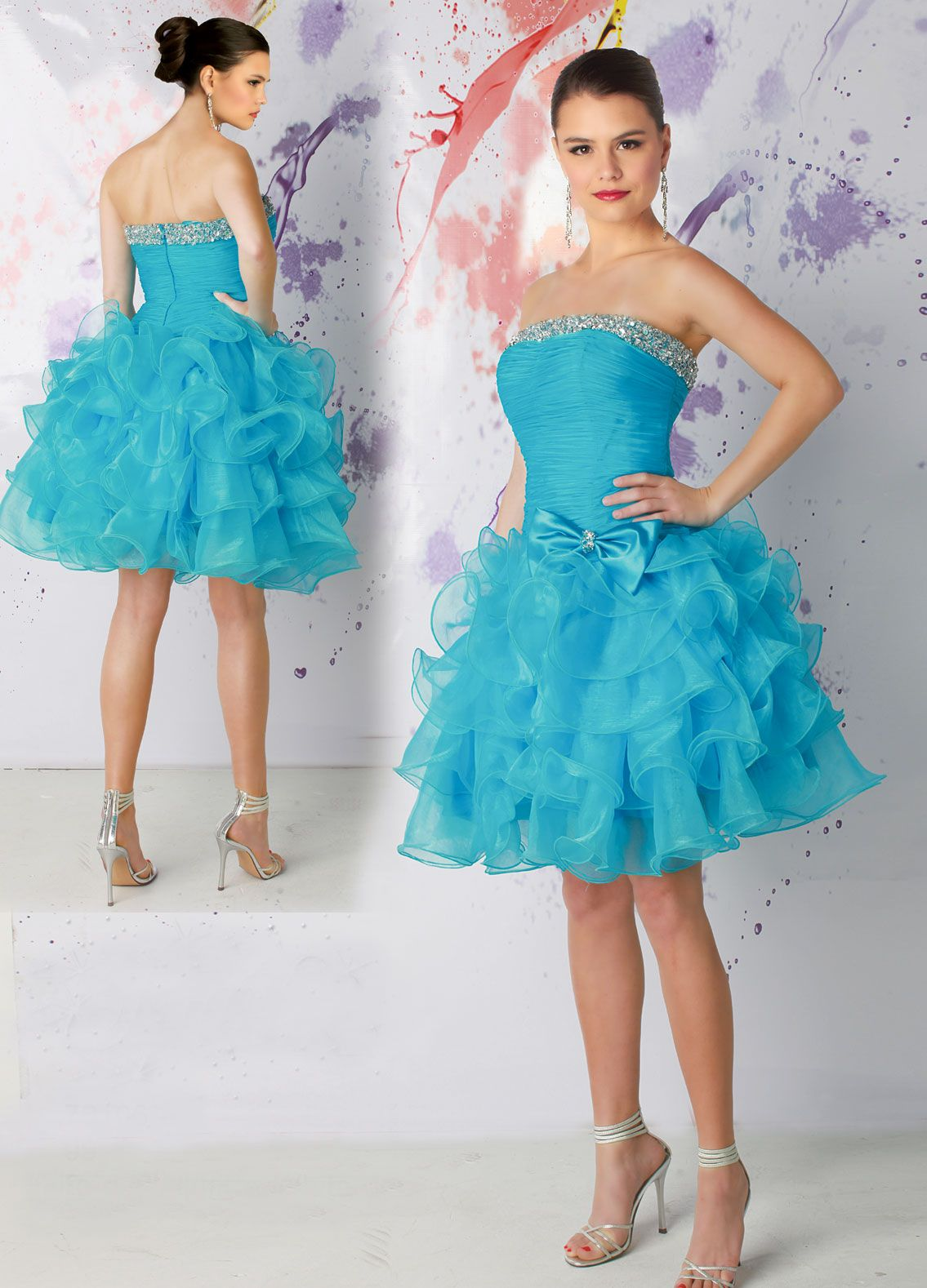 quinceanera dresses | Blue Strapless Layered short blue quinceanera ...