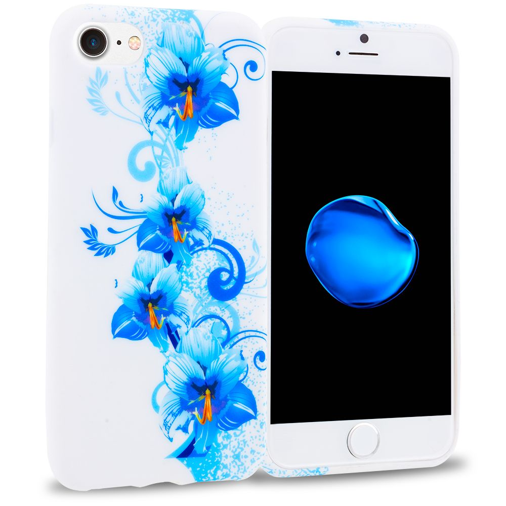 Apple iphone 8 blue white flower tpu design soft rubber