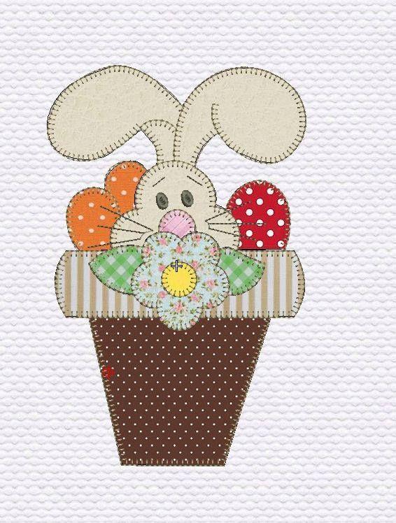 coelho no vaso   Pano prato coelhos   Pinterest   Apliques ...