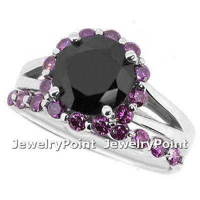 3.53ct MATCHING BLACK PURPLE DIAMOND ENGAGEMENT WEDDING RING SET 14k WHITE GOLD