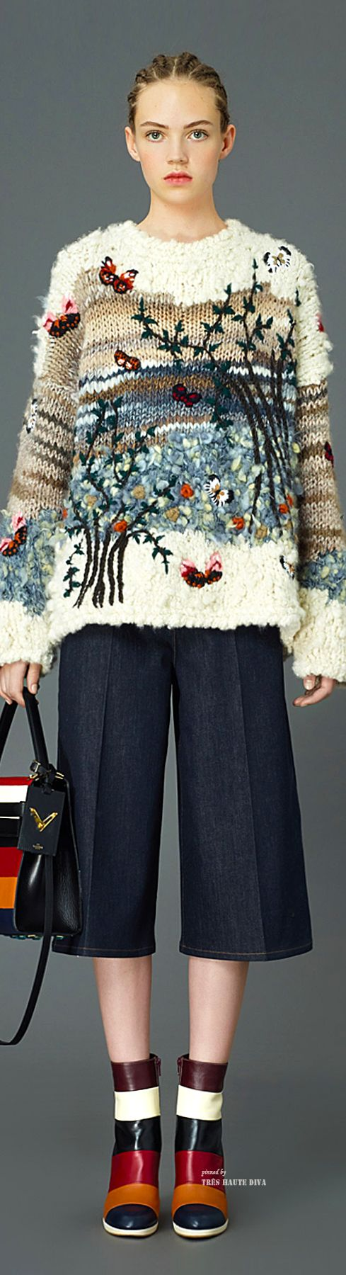 Boucle and embroidery embellished oversized sweater: Valentino Pre-Fall 2015