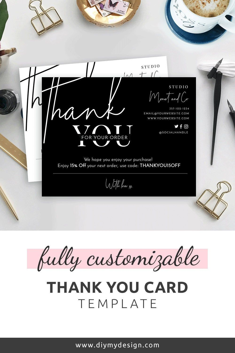 Minimalist Thank You For Your Order Card Template Thank You Etsy Business Thank You Cards Customer Thank You Note Thank You Card Template