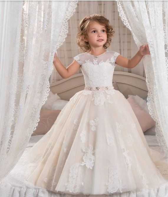6075abe16d7 Tulle and lace flower girl dress tulle flower girl dresses royal dress for  girls! White and ivory
