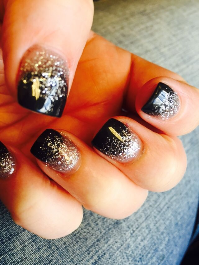 Black and Glitter Solar Nails    Nails By Helen Dallas, Ga