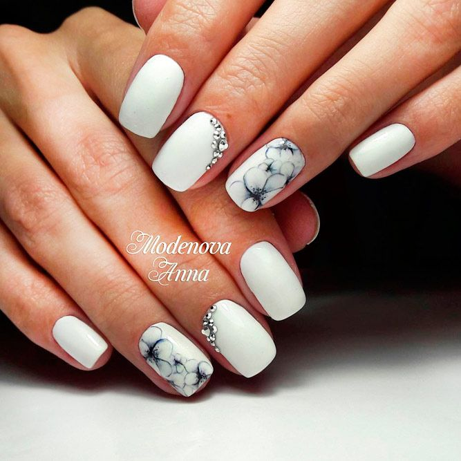 Elegant and Amazing White Nail Designs ☆ See more:  https://naildesignsjournal.com/amazing-white-nail-designs/ #nails - 21 Elegant And Amazing White Pinterest White Nail Designs, White