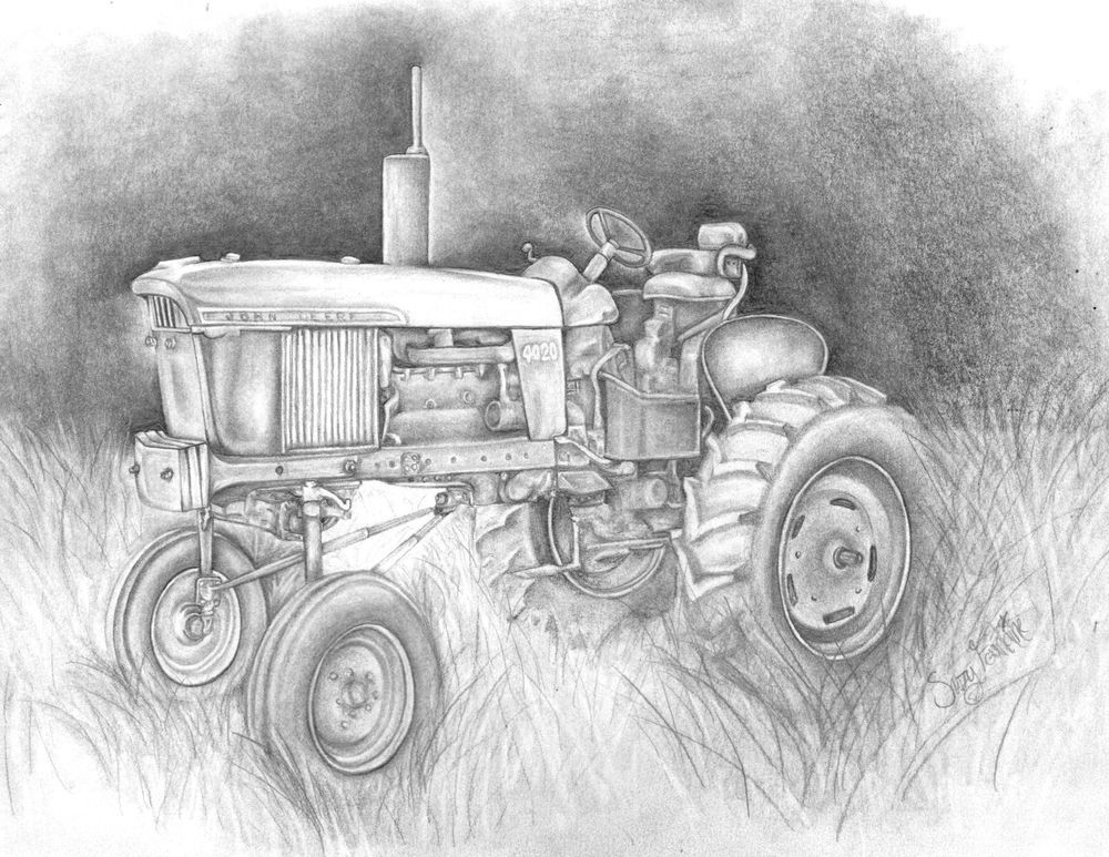 graphite charcoal john deere tractor drawing illustration | FARM ...